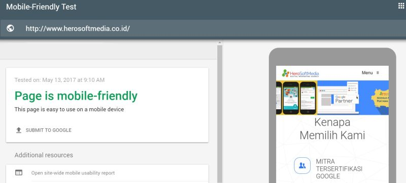 cara cek mobile friendly